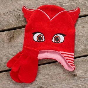 Other - Pjmasks Red Owlette Hat Gloves Mitten winter Set